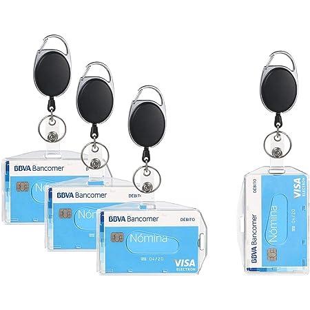 Vicloon 4Pcs Porte-badge avec Yoyo et Cordon Résistant a deux Façons de Porter pour Carte de Visite,Carte d'étudiants,Carte Bus de la Marque Protection de Vos Badges