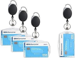 Vicloon 4Pcs Porte-badge avec Yoyo et Cordon Résistant a deux Façons de Porter pour Carte de Visite,Carte d'étudiants,Cart...