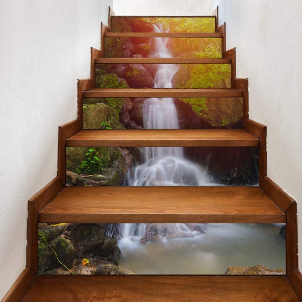 GJGFNJ 6 Unids/Set Creativo DIY 3D Etiqueta De La Escalera Mountain Stream Patrón Casa S Taircase Decoración Grandes Escaleras Pegatinas De Pared: Amazon.es: Hogar
