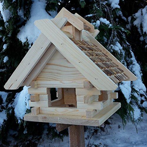 Vogelhaus Schreinerarbeit Futterhaus Vogelhäuschen –Wetterschutz– K Block Natur Holz Vogelhäuser Vogelfutterhaus - 3