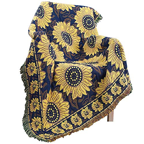 PHNAM Sunflower Throw Blanket with Fringe for Couch Bed Soft Decorative Cozy Cotton Woven Knit Warm Bed Throws Reversible for Chair, Sofa, Living Room, Bedroom (51x70.8 inches) (Sunflower)