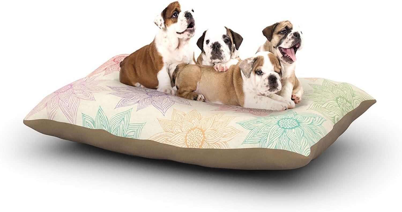 Kess InHouse Pom Graphic Design Spring Florals  Fleece Dog Bed, 30 by 40Inch, Rainbow Tan