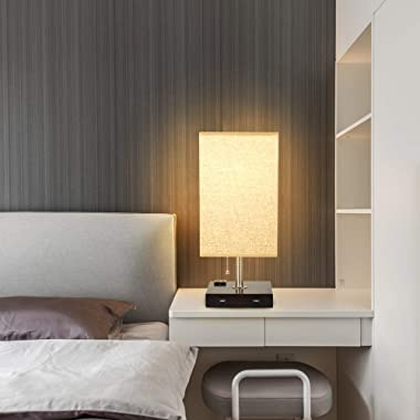 Depuley USB Table Lamp for Bedroom, Minimalist Nightstand Table Lamp with Dual USB Ports, Bedside Desk Lamps with Grey Fabric
