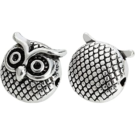 Silver Tone Owl Beads Fit Charm Bracelet 10x8mm B15839