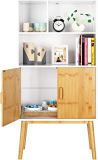 HOMECHO Storage Cabinet Sideboard Bookcase Shelf Floor Cabinets with Shelves 2 Doors Free Standing Cupboard for Home Office Study Bedroom, with Legs, White, Mid-Century Modern HMC-MD-009