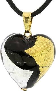 GlassOfVenice Pendentif Coeur de Murano Or et Argent