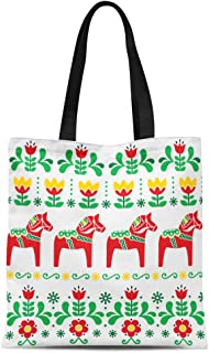 Semtomn Cotton Canvas Tote Bag Green Swedish Dala Horse Pattern Scandinavian Folk Flowers Red Reusable Shoulder Grocery Shopping Bags Handbag Printed