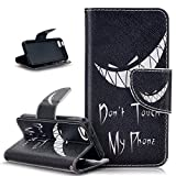iPhone SE Case,iPhone 5S Case,iPhone 5 Case,ikasus Colorful Painted PU Leather Flip Wallet Pouch Stand Credit Card ID Holders Case Cover for Apple iPhone SE 2016 & iPhone 5S 5,Don't Touch Py Phone