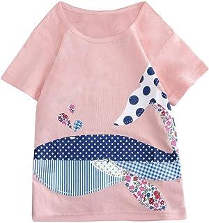 Julhold Infantile Bambino Piccolo Bambini Simpatici Animali a Righe a Righe Cotone Stampato T-Shirt Abbigliamento 1-6 Anni