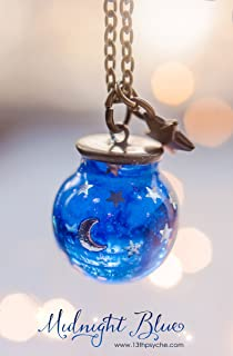 Collana in vetro blu orb, ciondolo globo luna e stelle, collana notte, pendente globo in vetro, gioielli celesti, regalo d...