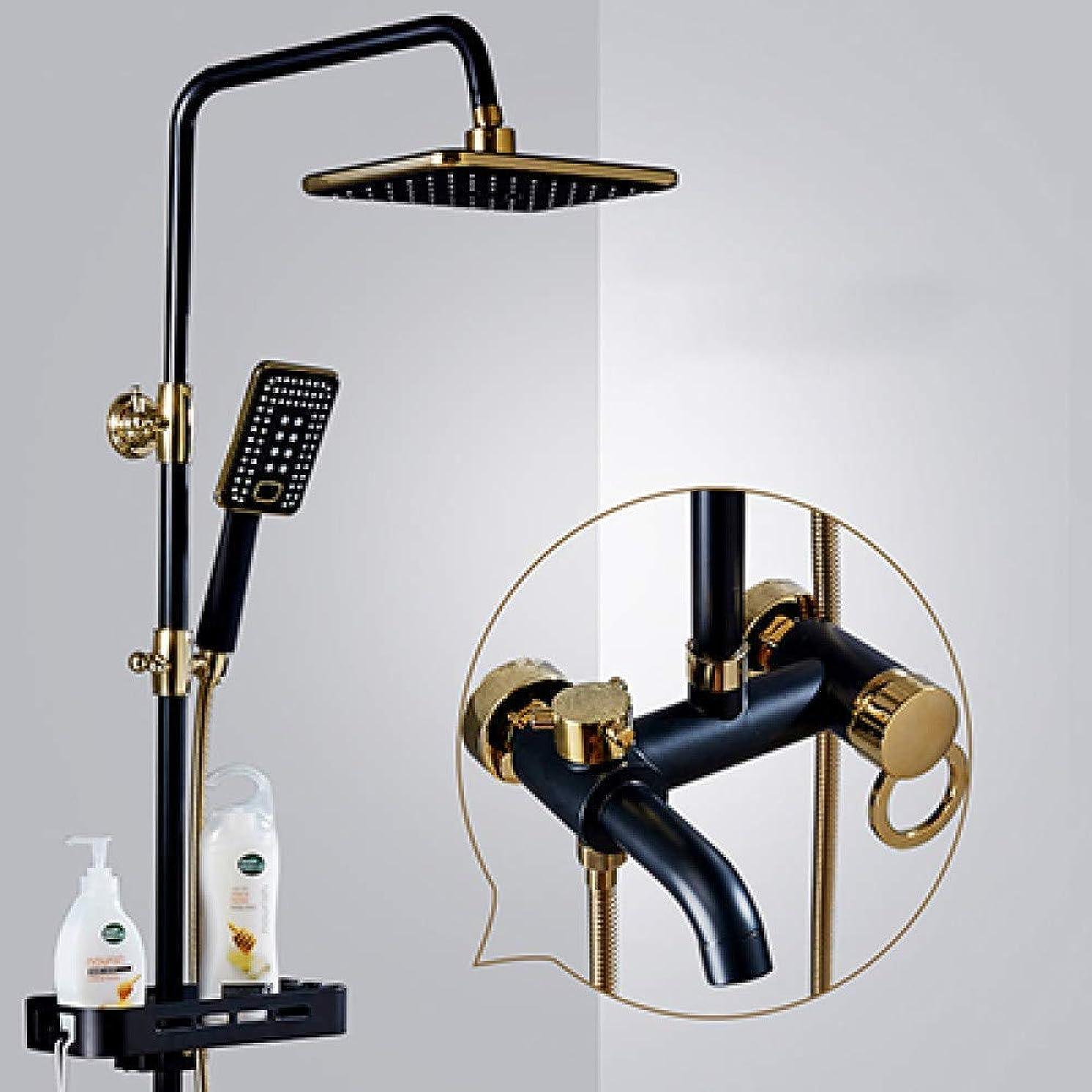 芝生ひねくれたアソシエイトシャワーヘッド 取り付け簡単 シャワーセット浴室のシャワーの蛇口セットブラックColden降雨コールド蛇口、温水蛇口セットミキサータップ、スタイル3、中国 (Color : Style 2, Size : 2)
