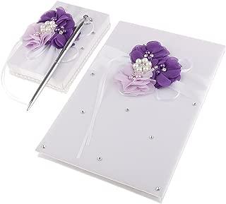 Jili Online Satin Flower Wedding Guest Book Pen Holder Set with Pearls Crystal Decorations - Purple
