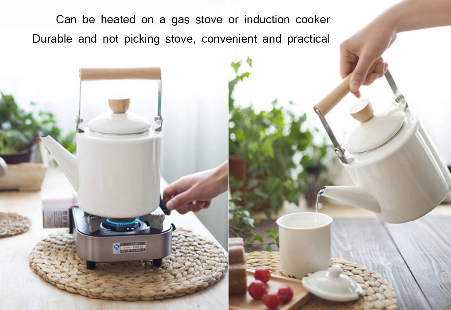 Enamel Kettle Thicken Retro Stovetop Whistling Induction Cooker Natural Gas Household Commercial Restaurant teapot,Red