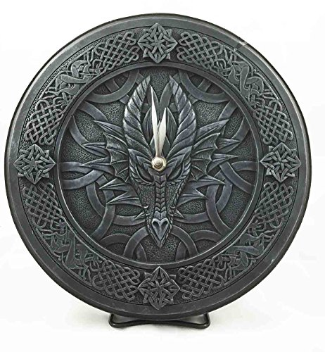 Gothic Dragon Death Gaze Round Wall Clock Resin Figurine 11.5'Diameter
