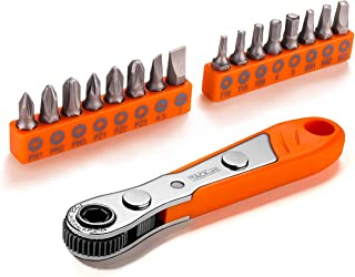 "17 Pcs Mini Ratchet Screwdriver with 1/4"" Drive, Tacklife ratchet Wrench and Bits, 36-tooth Close Quarter - HRSB1A"