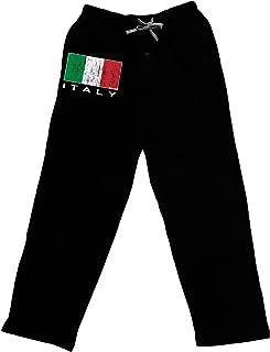 TooLoud Italian Flag - Italy Text Distressed Adult Lounge Pants - Black
