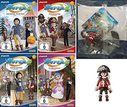 Super 4 - DVD 1-4 + Piratin Figur im Set (4 DVDs)