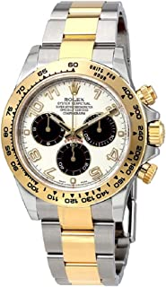 Rolex Oyster Perpetual Cosmograph Daytona 40mm Stainless Steel Case, 18K Gold Tachymeter Engraved Bezel, Ivory dial, black Subdials, Arabic Numerals, And Stainless Steel 18K Yellow Gold Bracelet.