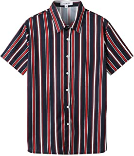 Mens Fashion Short Sleeve Casual Slim Fit Vertical Striped Button Down Shirts