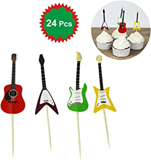 LUOEM 24pcs Guitar Design Birthday Cake Toppers Jungle Theme Cake Picks for Baby Shower Party Events