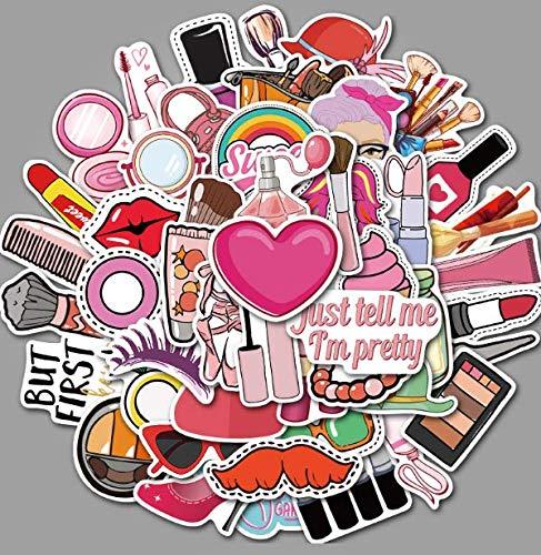 JZLMF Chica Cosméticos Chica Linda Maleta Pegatinas de Dibujos Animados Súper Impermeables Graffiti Maleta Pegatinas 50 Uds