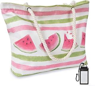 WERNNSAI WERNNSAI Wassermelone Strandtasche -Extra Groß Segeltuch Handtasche mit Taschen Reißverschluss Seil Griffe für Frauen Mädchen Sommer Strand Schwimmbad Fitnessstudio