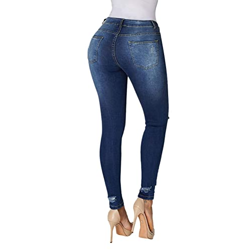 c9525124fd5 GOSOPIN Womens Ankle Length Destroyed Denim Hole Trousers Skinny Ripped  Jeans Pants