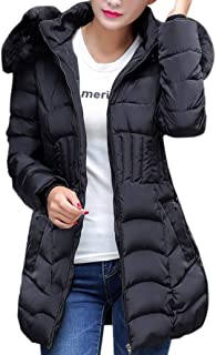 Misaky Women's Long Jacket Warm Cotton Parka Trench Coat With Faux Fur Hood