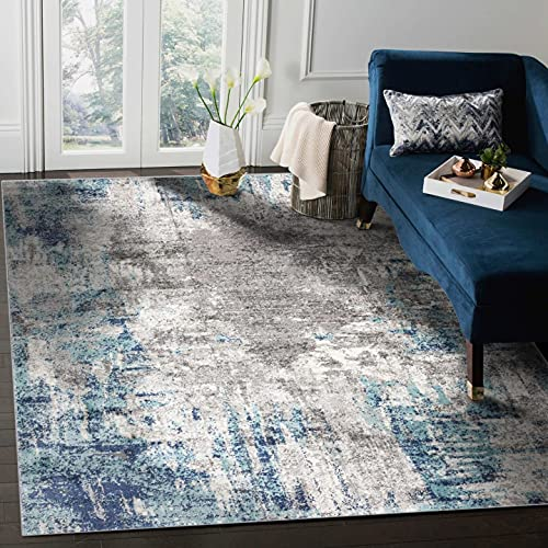 Luxe Weavers Euston Blue 8 x 10 Abstract Modern Area Rug
