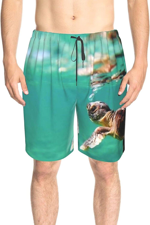 Mens Swim Trunks Baby Turtle Sea Swim Boardshorts Fast Dry Fashion Surf Beach Shorts with Mesh Lining
