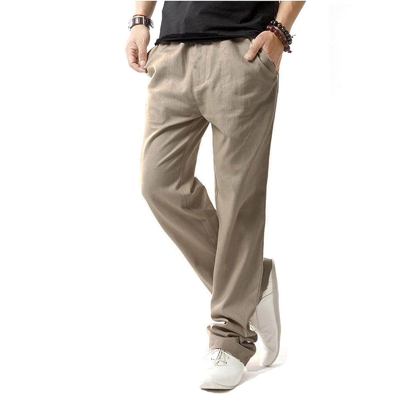 Mens Cotton Linen Casual Pants Elastic Waist Loose Fit Trousers Cargo Beach Pant Sweatpants Joggers (Medium,Khaki)