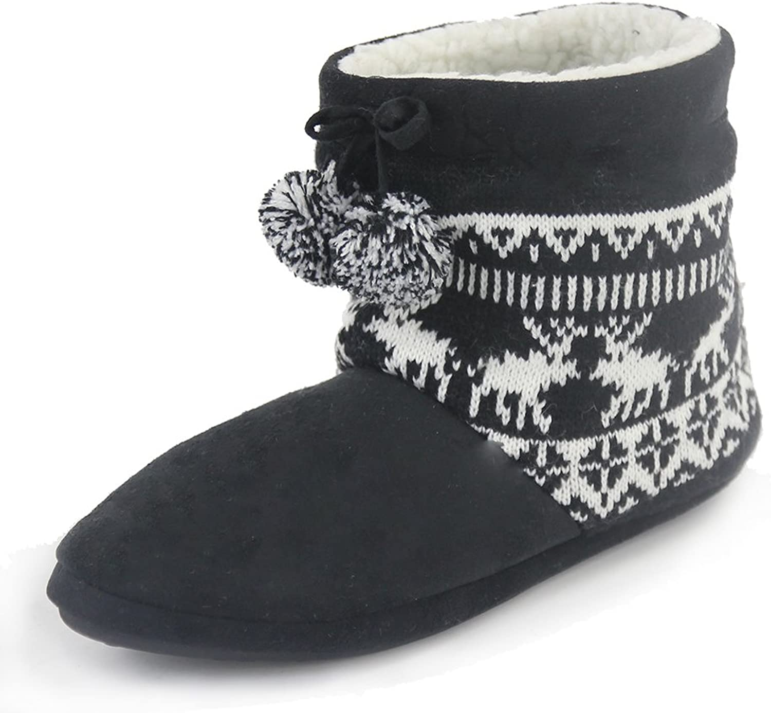 Gohom Fuzzy House Slipper for Women, Indoor Faux Fur Slip on Home shoes Boots