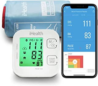 iHealth Track Wireless Blood Pressure Monitor Bluetooth Blood Pressure Cuff, Digital Upper Arm Cuff, BP Meter with Multi-Color Backlight Large Display, Kit Comes with Batteries (BP Monitor New)