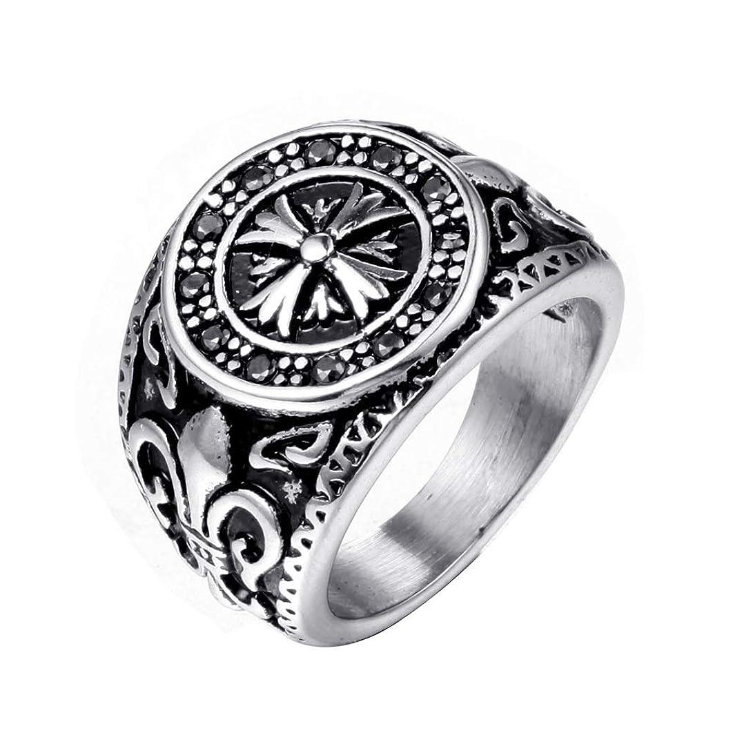 討論指導する罰するメンズ指輪 ステンレス鋼メンズメタルロックスタイルリングゴシックパンクリングフィンガージュエリーギフト パンク 指輪 (色 : Silver, Size : 11)