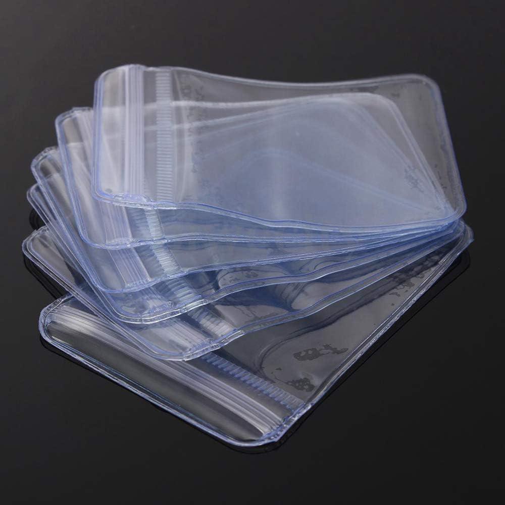 70x50mm Plastic Clear PVC Coin Bag Case Wallets Storage Cover Envelopes 100Pcs
