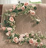 MISSPIN 5.7Ft Artificial Flower Garland Fake Rose Vine with Peonies Artificial Flowers Hanging Rose Ivy Vines for Bedroom Decor Wedding Arch Garden Background Decor (Ice Pink, 1)