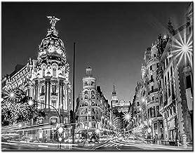 5D Full Round Diy Diamond Painting Blanco Y Negro Madrid City En La Noche En España Main Street Home Decoration 40x50cm