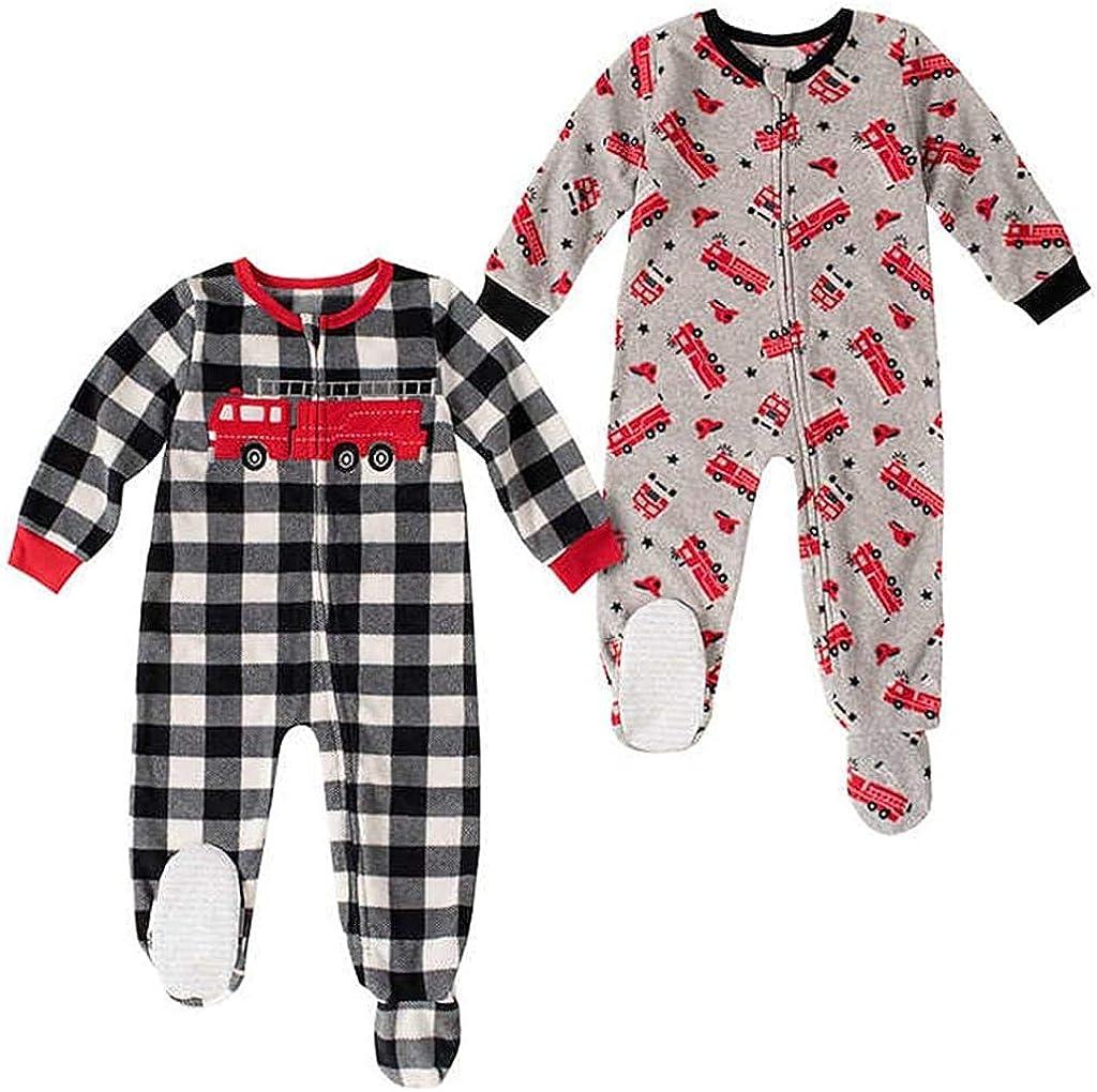 absorba Toddler Boy's Firetruck Fleece Footed Blanket Pajama Set, 2-Pack (4T)