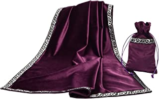 BLESSUME Altar Tarot Table Cloth Divination Wicca Velvet Cloth with Tarot Pouch Purple