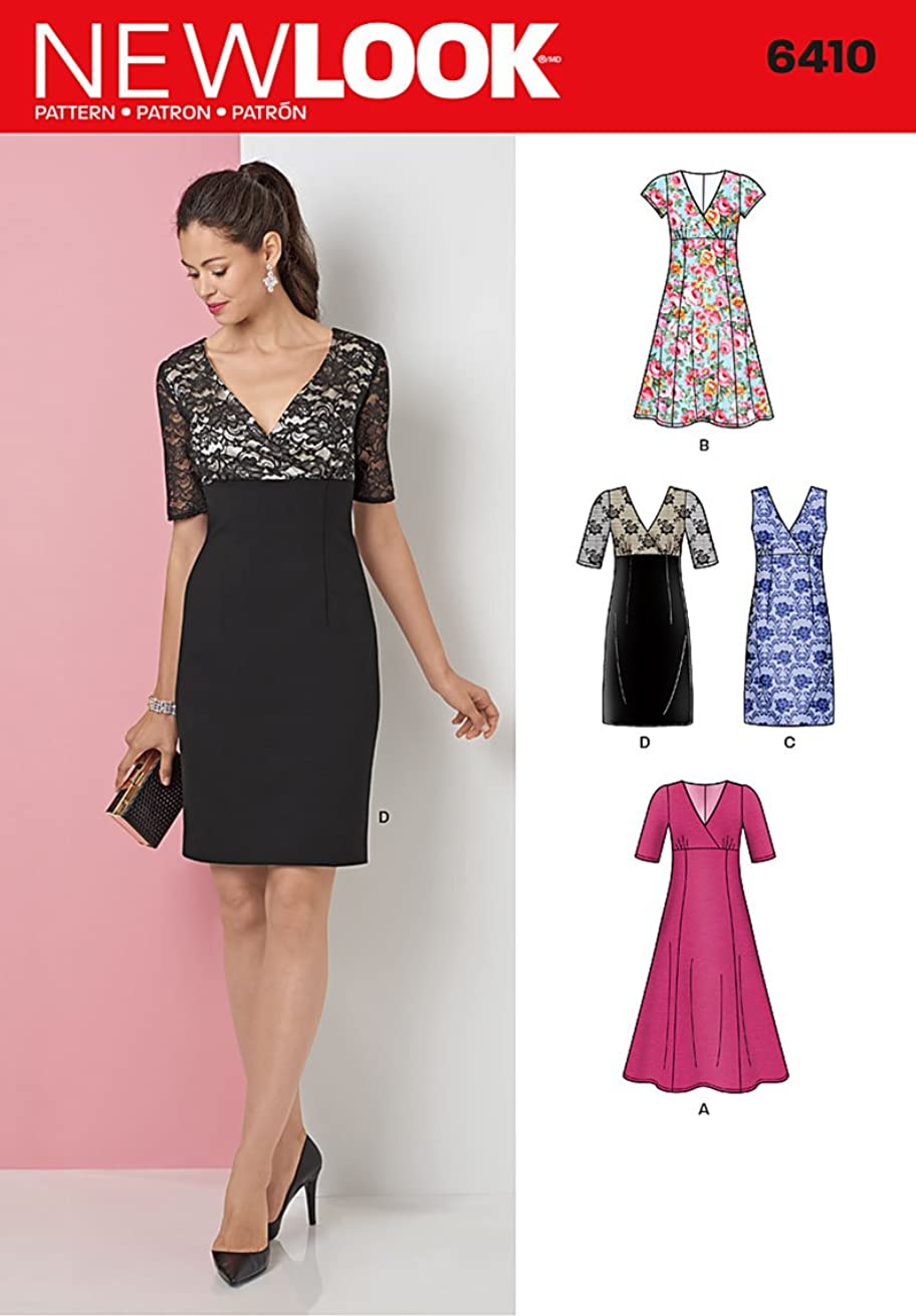 New Look Patterns Misses' Dress with Skirt and Fabric Variations Size: A (10-12-14-16-18-20-22), 6410