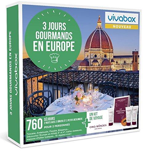 Vivabox - Coffret cadeau couple - 3 JOURS GOURMANDS EN EUROPE - 760 week-ends + 1 kit de voyage