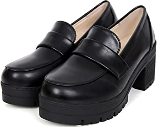 [Ace Shock] レディース 学生靴 幅広 ローファー 学生 通学 入学 卒業 スリッパ コスプレシューズ