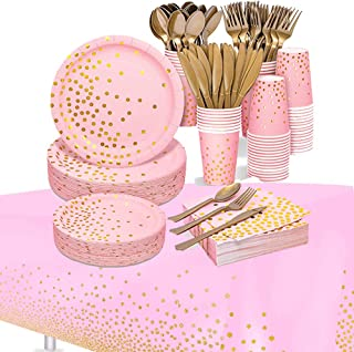 Beauenty 169PCS Party Supplies Golden Dot Disposable Party Paper Dinnerware,Paper Plates and Napkins Cups Forks Knives Spo...
