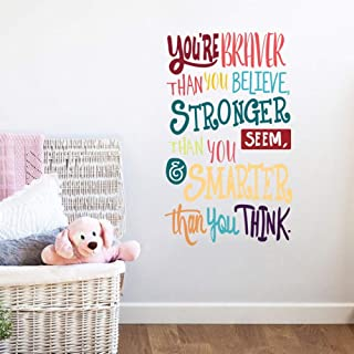 Colorful Inspirational Lettering Quote Wall Decal-You're Braver Than You..