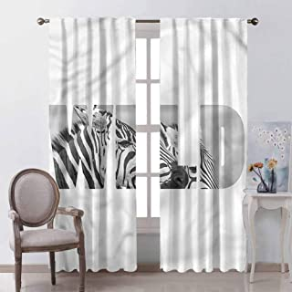 GUUVOR Zebra Print for Bedroom Blackout Curtains Safari Animal Adventure Blackout Curtains for The Living Room W54 x L84 Inch