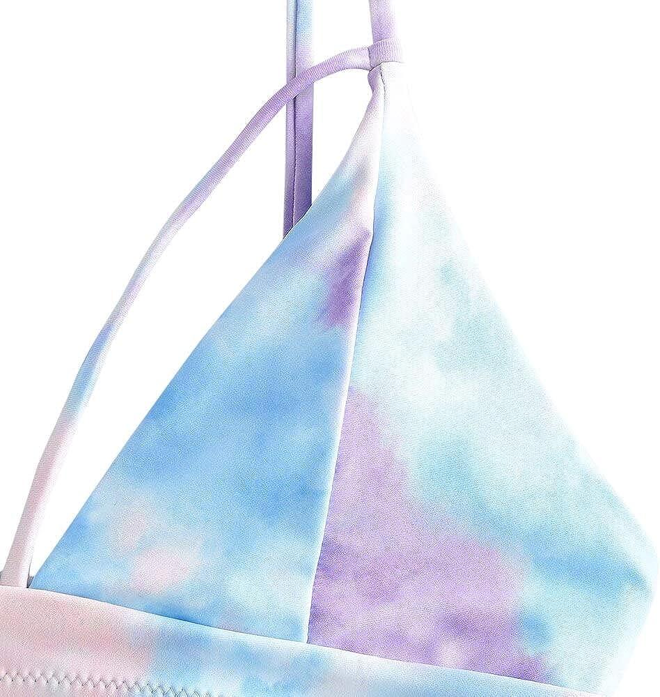 ZAFUL Damen Tie Dye Riemchen Bikini Set Spaghetti-Tr/äger Gepolstert Zweiteiliger Badeanzug