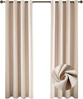 Nicasso Textured Basics Solid Blackout Room Darkening Grommet/Eyelet Top Window Curtains Panels Thermal Insulated Draperies for Bedroom(Single Panel,W52 x L84,Beige)