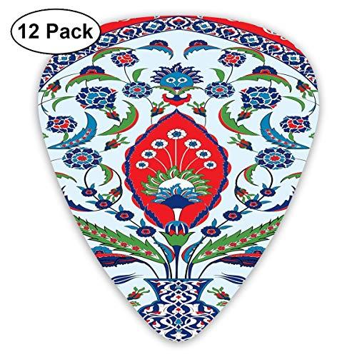 Gitaar Picks12pcs Plectrum (0.46mm-0.96mm), Floral Nature Art Motieven Van Istanbul Abstract Plant In Een Vaas, Voor Uw Gitaar of Ukulele