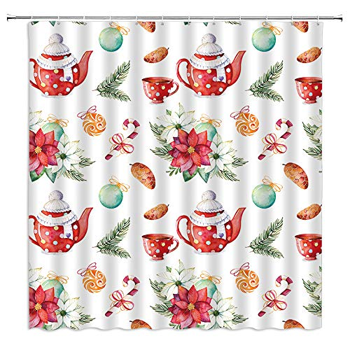 Red Flower Shower Curtains, Merry Christmas Floral Red Poinsettia Xmas Balls Kettle Water Cup Fruit Cartoon Candy Cane White Festive Winter Holiday Decor Fabric Bathroom Curtain 70x70IN with Hooks