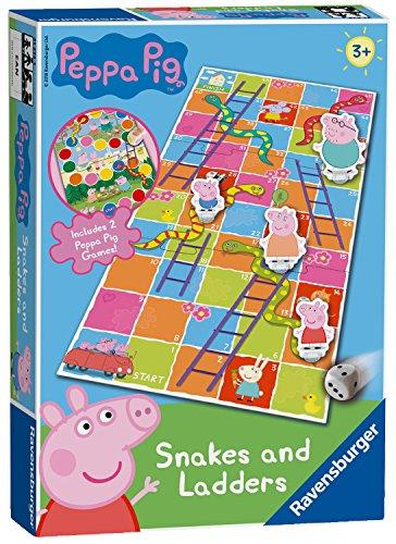 Ravensburger 21373 Peppa Wutz Snakes & Ladders Brettspiel für Kinder ab 3 Jahren-EIN klassisches Spiel und Favorit für Familie